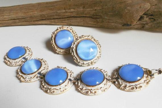 Vintage bracelet & earring set blue glass moon glow moonstone statement jewelry