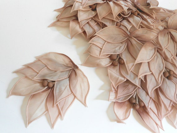 Vintage millinery flower pad silk dusty rose ombre new old stock