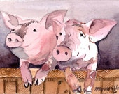 ACEO Limited Edition 9/25- Good morning, Art print of an 2.5 x 3.5 inches original watercolor painting, Pig painting, Gift for animal lovers