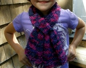 knitted kids pink and purple soft  fluffy scarf