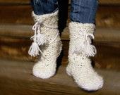 READY-TO-SHIPWhite Cozy Hand-Crocheted Socks - Boots