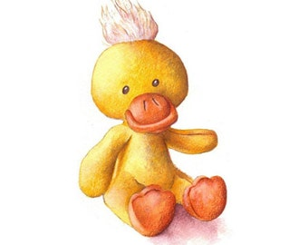 Nursery Art, Toy Duck, print from an original watercolor illustration