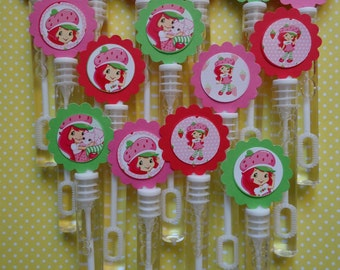 Strawberry Shortcake party favor bubbles, Strawberry Shortcake birthday favors, bubble wands set of 12
