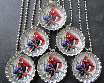 Spiderman  /   Bottle Cap Party favors (6) / add more for 2 dollars each / visit my shop for discount  code / perfect for Valentine's