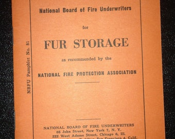 Fire Underwriters Fur Storage Pamphlet No. 81 NBFU