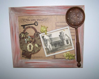 Upcycled Rustic Treasures Old Homestead Original Collage