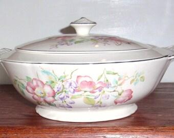 1930 ' s Couronne Ivoire Chine couverte à couvercle Cocotte ronde plat fleurs roses rétro motif garniture platine 1134 bol collection Antique