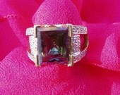 195 D SALE Mystic Topaz Diamond 10k Ring 7 g with FREE SHIPPING
