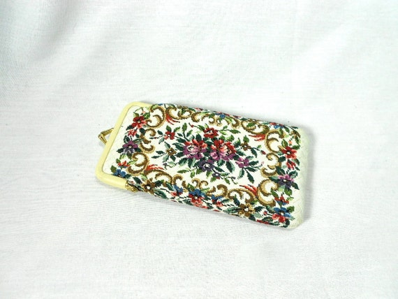 1960s Needlepoint Floral Eyeglass Case / Coin Purse