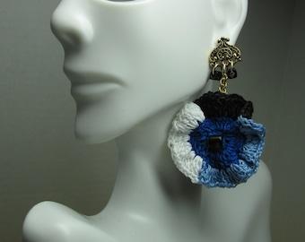 Crochet Earrings White, Black & Blue Wave Design