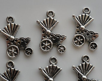 50 Baby Carriage Charms  Antique Silver Finish Gender Neutral Baby Shower Favor / Invitation Tie On