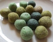 Shades of Green Recycled Salvaged Felted Wool Beads--lot of 16