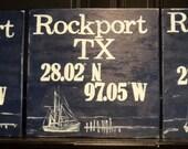 Custom Order Handpainted Signs Hometown Rockport TX Latitude and Longitude Navy and Cream Shrimp Boat