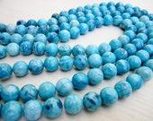 """GB-1093 - Blue Jasper Round Beads - 8mm - Full 16"""" Strand"""