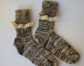 Socks Green Ivory Vintage Lace Handcranked Ragg Wool Cotton Yarn
