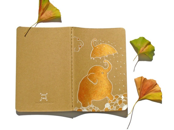 Elephant dream journal painted cahier umbrella