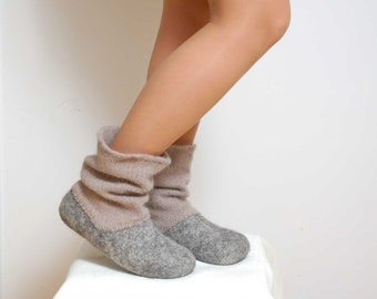 Felted wool slipper boots Grey - organic wool felt boots - boiled wool shoes - valenki - ugg boots - women slippers - house shoes