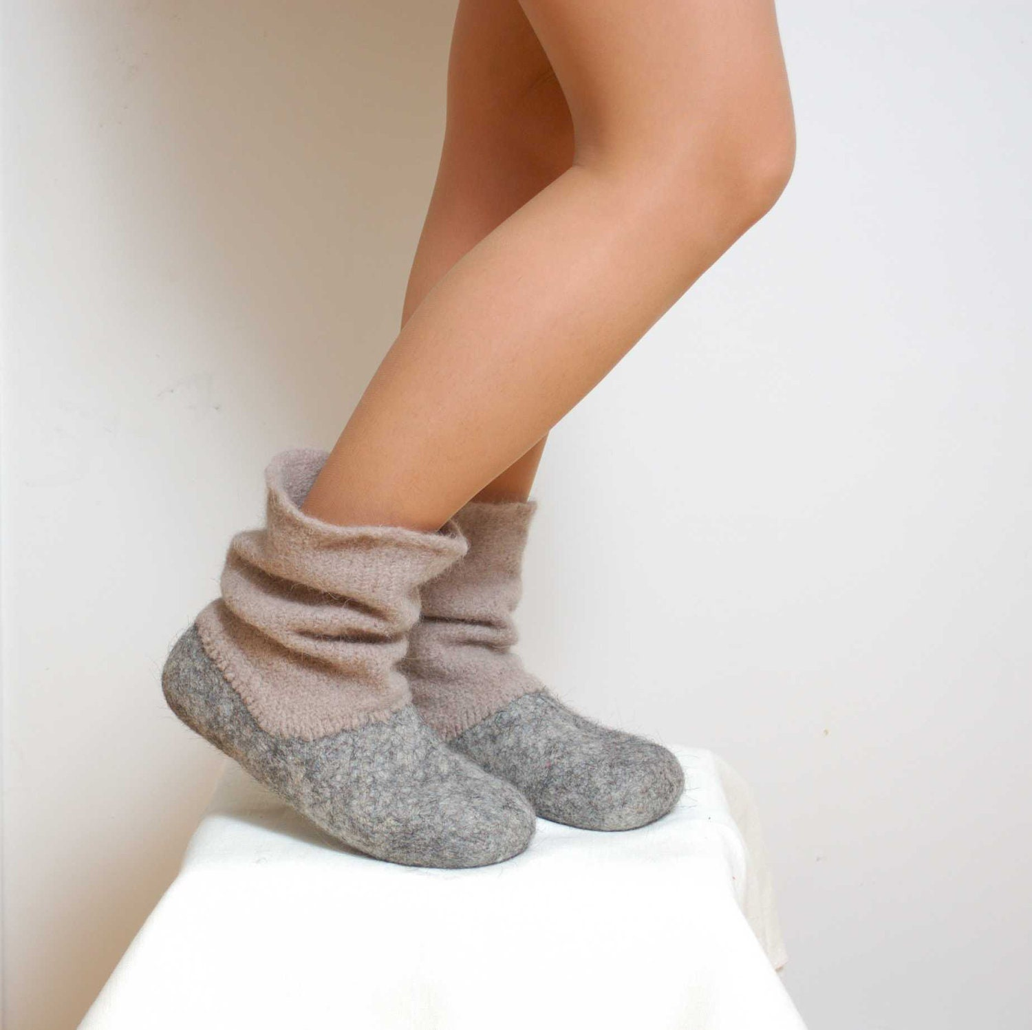 Felted Wool Slipper Boots Grey
