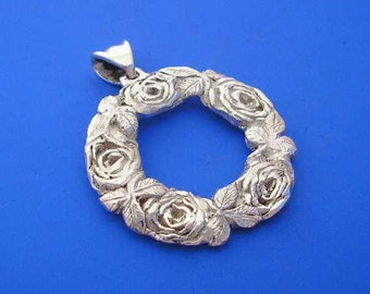 Silver Rose Pendant , Rose Wreath Pendant , Rose Necklace ,  Rose Ring , Hand Made Solid Silver