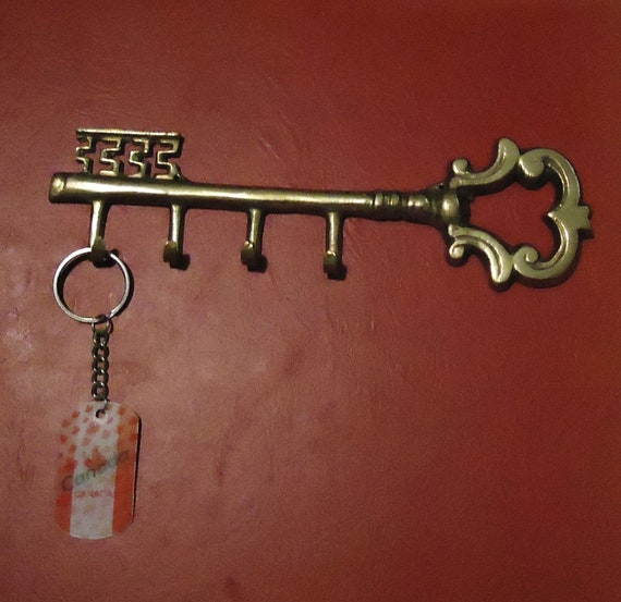 sale vintage brass key chain holder key style wall hanging