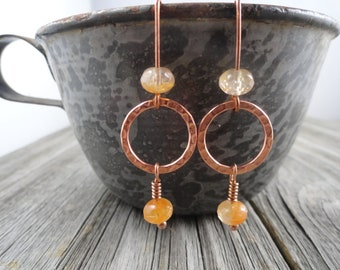 Real copper and Peach Czech glass bead earrings