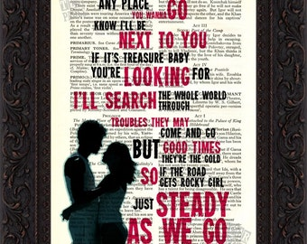 Dave Matthews Band Steady as We Go Song Lyrics print on upcycled Vintage Page