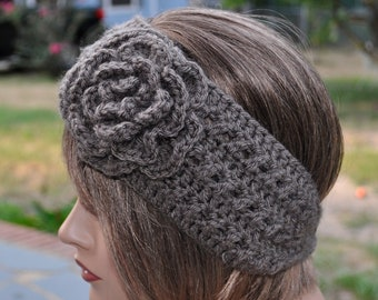 Crochet Ear Warmer for women,  Taupe headband, Soft yarn Head wrap, Crochet Headband with Flower,