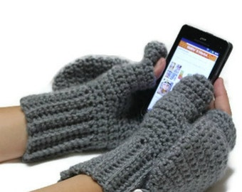 Convertible Texting Mittens, Glittens, Winter Gloves, Mittens, You pick color, Made to Order