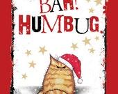 Bah Humbug Grumpy cat Christmas card (Tabby)