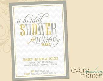 Bridal Shower Invitation -- custom, printable, digital -- Wedding Shower Invite