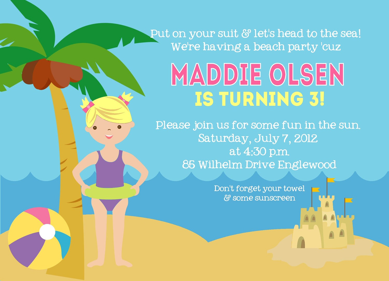beach birthday invitation swimming birthday invitation
