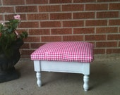 Le' Petite Pink and white vintage  foot stool with