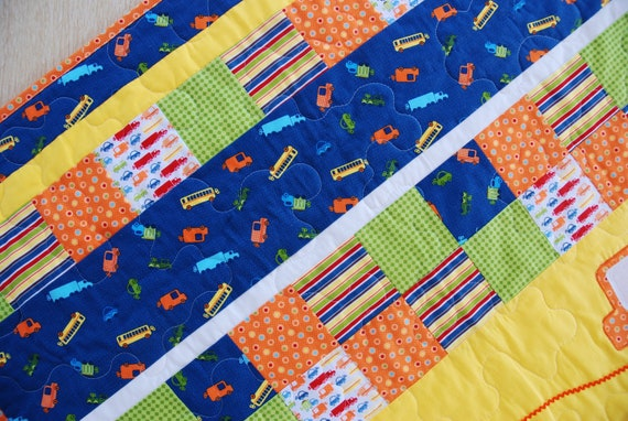 Baby Boy Quilt, City Streets and Cars, Crib Bedding in Primary Colors