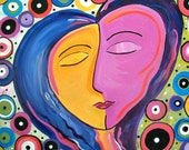"Portrait Face Painting Picasso-like FigurativeTribal Soulful Art Canvas 20"" x 16"""
