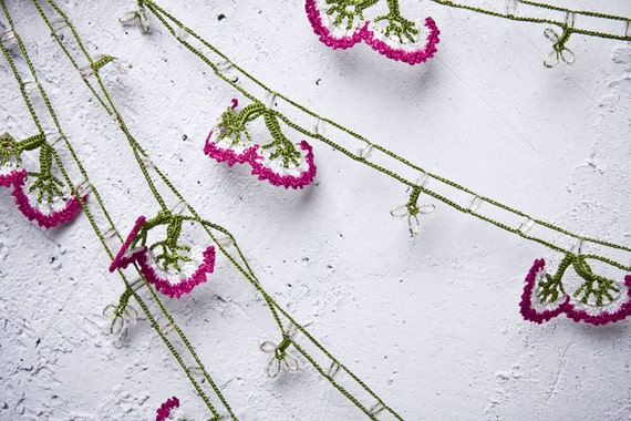 "turkish lace - needle lace - crochet - oya necklace - 132.28"" - FAST worldwide shipment with UPS - fatma-004"