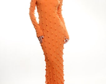 Orange stretch wool blend jersey maxi dress with embroidered spikes