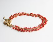Red Coral Wire Wrapped Gold Dangle Bracelet 14K Christmas