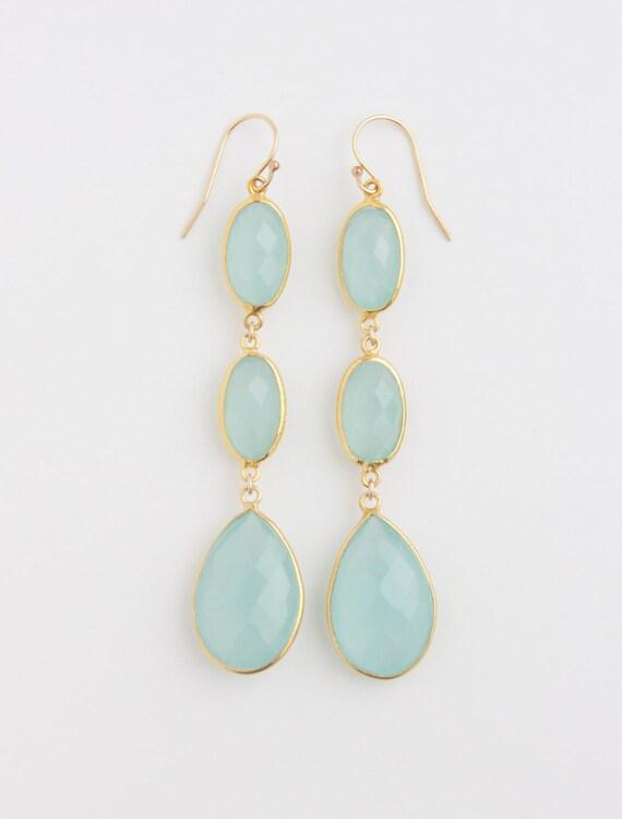 Reserved for Wholesale: Aqua Blue Chalcedony Bezel Set Three Dangle Drop Earrings 18K