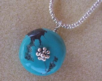 Turquoise Pendant on Sterling Silver Chain Necklace