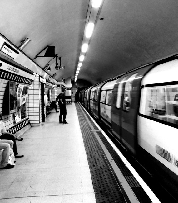 "London Underground Tube Station - Original Photography - 8"" x 12"" Black and White - Metallic or Glossy Print"
