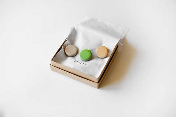 ceramic pins - brooches in creamy ivory, apple green and sweet peach