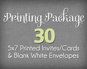 ADD-ON Printing Package for 30  5x7 Cards with Blank Envelopes