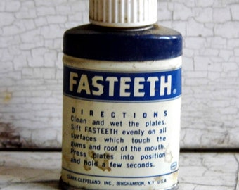 Tiny Tin Bottle, Vintage Quack Medical Tin, Fasteeth Dentist Trial Size Blue and White Quack Medicine for Display