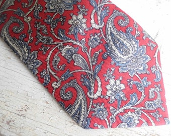 Mens Tie, Silk, Necktie, Designer Tie, Red and Grey Print, Vintage Neck Tie, Retro Mad Men Appeal from All Vintage Man