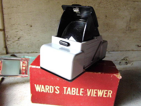 Vintage New Table Slide Viewer, Montgomery Ward, Original Box, Japan, Photo Slides, Photography, Camera , Mad Men Retro from All Vintage Man