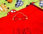 Race Car Stroller blanket w/embroidery