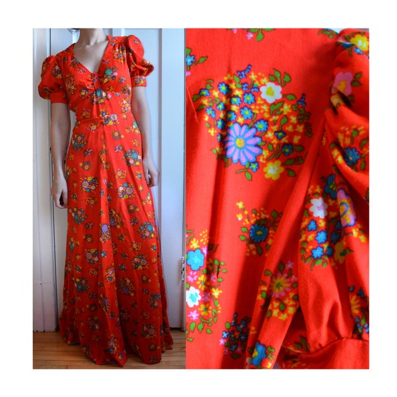 Bright Red Floral Puff Sleeve Dress, Size XSmall - Small