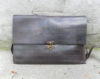 Handmade Leather Laptop Sleeve, Leather Attache Case, Mad Men Inspired