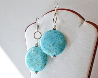 CLEARANCE 50% off, Turquoise Earrings, Wire Wrapped Turquoise Discs Dangle