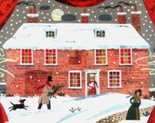 Jane Austen - Christmas Card - Traditional Snow Scene - Cat - Dog - Writers' Houses - Naive Art - Chawton Cottage - Holiday - Naive Art